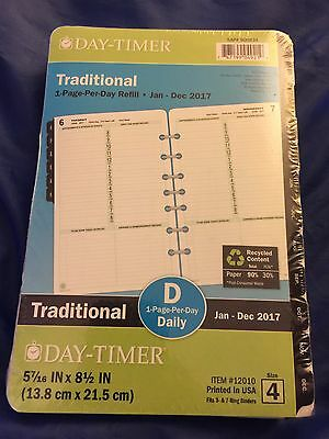 Day-Timer Traditional 1 Page Per Day Refill Jan-Dec 2017 Planner