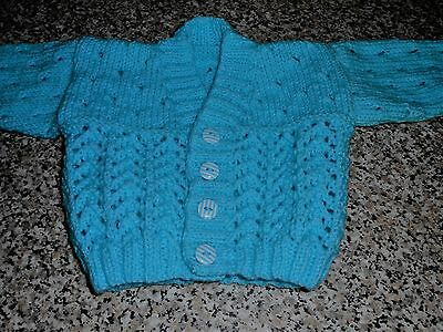 NEW !!Hand Knitted Baby Boys V Neck Cardigan 0-3 Months !!