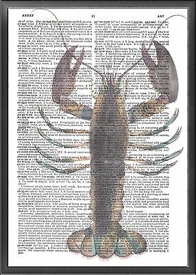 Lobster Altered Art Print Upcycled Vintage Dictionary Page