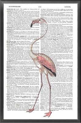 Pink Flamingo Altered Art Print Upcycled Vintage Dictionary Page