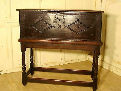 17th Carved Oak Bible Box, Chest on Stand