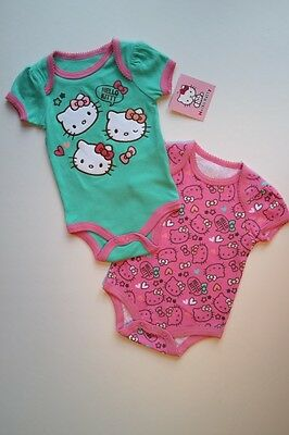 NEW NWT HELLO KITTY 2Pc Pink & Green Bodysuit Outfit Set Baby Girls 3-6M