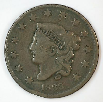 1833 Double Profile Coronet Large Cent Doubled Error