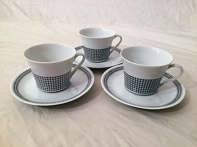 6 Piece Vintage Mitterteich Bavaria China Germany Tea Cups and Saucers