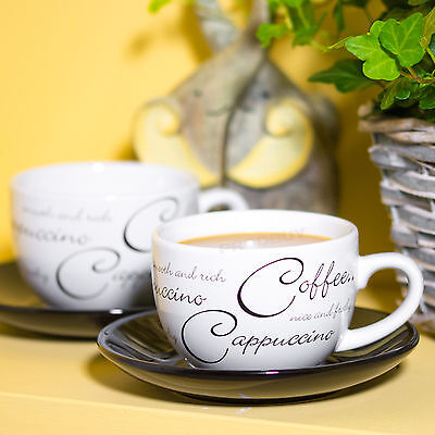 Set of 2 Black & White Script Cups & Saucers Small Coffee Tea Cappuccino Cafe