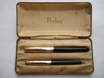 C1C1960S Parker 51 1/10 12Carat Rolled Gold&black Bodied Fountain Pen&pencil Set