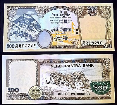 500 Rupees Nepal Currency 2016 Printing Mt. Everest, obverse Two Tigers NEW UNC