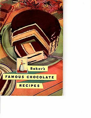 Baker's Famous Chocolate Recipes Vintage cookbook 1936