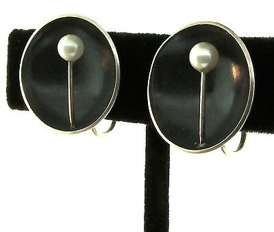 Vtg ED LEVIN Sterling Silver Pearl Mid-Century Modernist Screwback Earrings
