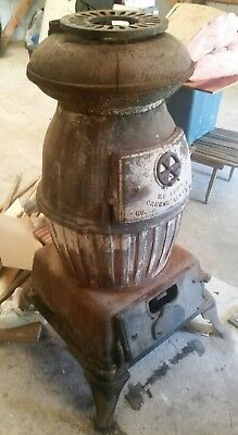 Army Cannon Stove Pot Belly Antique Wood Burning Vintage Heater Cast Iron WW2