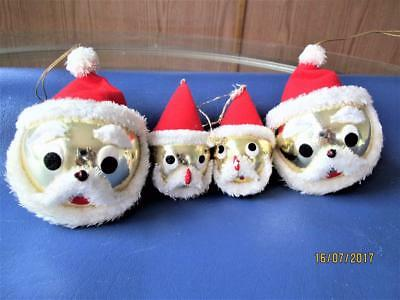 4 Vintage Gold Glass Santa Head  Christmas Ornaments