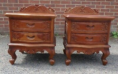 Pair French Rococo style solid carved mahogany 2 drawer bedside chests cabinets