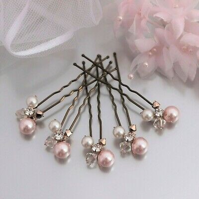 Pearl & Crystal Hair Pins x5 Rose Gold Pink Ivory Gold Cream Champagne Bridal UK