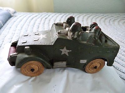 Vintage WW2 Cast Metal Army Truck With Original Paint