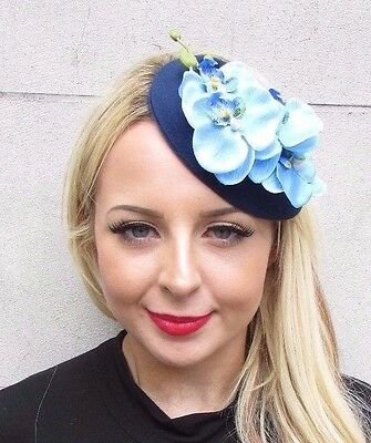 Navy Light Blue Orchid Flower Pillbox Hat Fascinator Races Headpiece Clip 3430