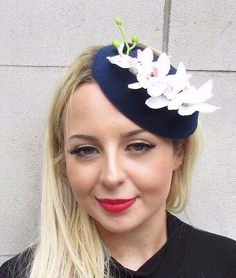 White Navy Blue Orchid Flower Pillbox Hat Fascinator Races Headpiece Clip 3431