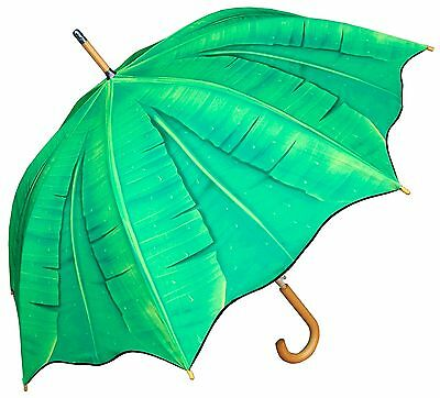 "48"" Palm Banana Leaf Print Auto-Open Umbrella - RainStoppers Rain/Sun UV Fashion"