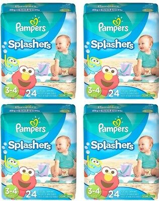 Pampers Splashers Swim Diaper Size 3-4 , 24 Count Pack of 4