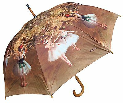 "48"" Degas Ballerina Print Auto-Open Umbrella -RainStoppers Rain/Sun UV Fashion"