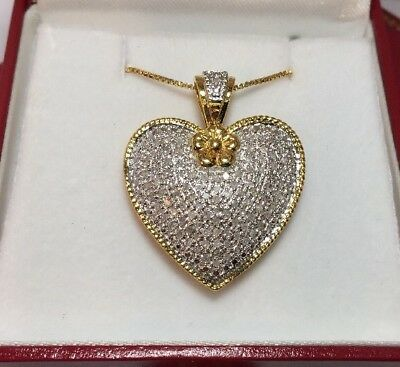 14k Yellow Gold Sterling Silver 1 Carat Diamond HEART Pave Pendant Necklace Set