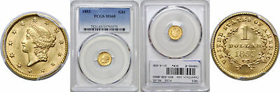 1853 $1 Gold Coin PCGS MS-65
