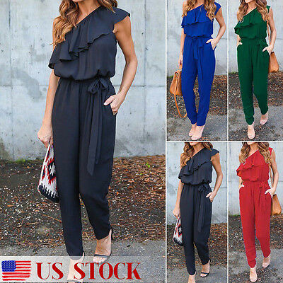 Women Ladies Clubwear Playsuit Bodycon Party Jumpsuit Romper Trousers Long Pants