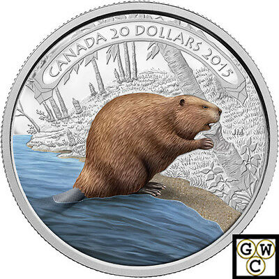 2015 'Beaver at Work' Color Proof $20 Silver Coin 1oz .9999 Fine(NT)(15287)OOAK