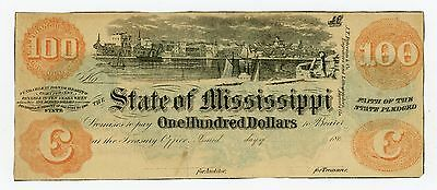 1860's Cr.49a $100 The State of MISSISSIPPI Note - RARE!
