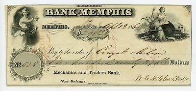 1861 Bank of Memphis - TENNESSEE / LOUISIANA Check to Cruzat & Wilson