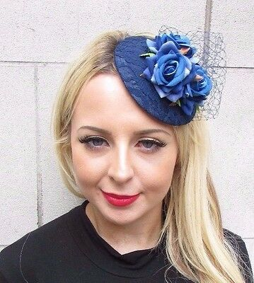 Navy Royal Blue Rose Net Flower Fascinator Pillbox Hat Races Wedding Clip 3436