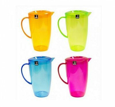 3 x 2 Litre Plastic 2L Multi Purpose Picnic Water Juice Jug Pitcher & Lid New