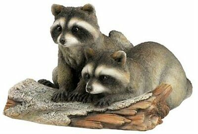 "Raccoons Log Figurine New in Box 5.75"" Long Raccoon Wild Animals"