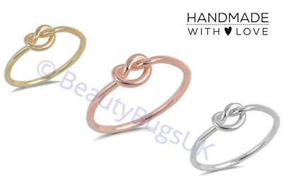 Infinity Knot Ring in Gift Bag/Box! Rose Gold, Silver or Gold. friendship UK