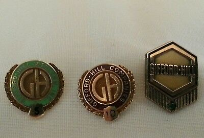 Gifford-Hill Cement Producer Company 14K 10K Gold Pin Pinback Lapel Emerald LOT