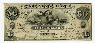 1855 $50 The Citizens Bank of Nashville & Memphis, TENNESSEE Note - RARE!