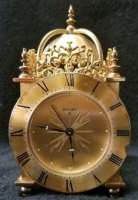 Rare Vintage Brass Swiza 8 Day Travel Alarm Clock Made in Swiss