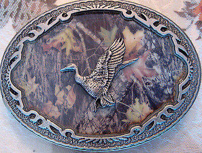 Rare New Official 2006 Licensed Mossy Oak Camo Duck Goose 3D Pewter Belt Buckle