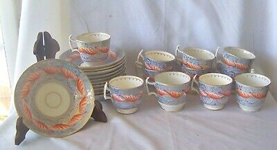 11 Antique English HP Porcelain Periwinkle Ground Demitasse Cups & Saucers H421