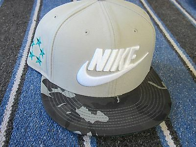 NEW Nike Gray Black Camo Baseball Cap Snap Back One Size Embroidered Hat NEW