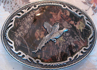 Rare New Official 2006 Licensed Mossy Oak Camo Pheasant 3D Pewter Belt Buckle