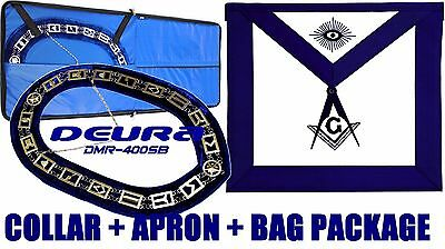 Masonic Regalia Master Mason SILVER Chain Collar BLUE Backing + APRON + BAG 01