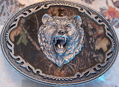 Rare New Official 2006 Licensed Mossy Oak Camo Bear Head Pewter Belt Buckle
