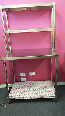Brand new Stainless Steel Bench with Overshelves 900x600x850 x300x780 mm