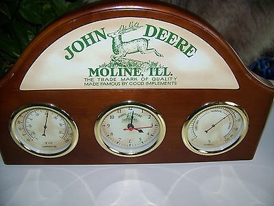 John Deere Clock, Temp, & Humidity Wooden Wall Hanging