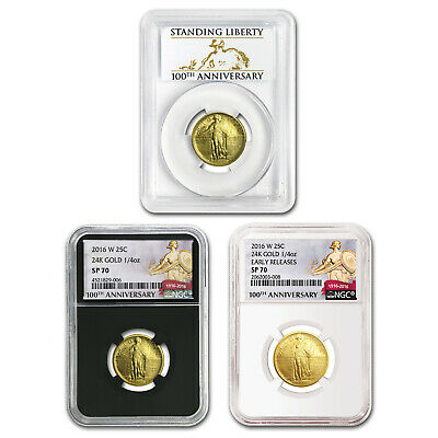 2016-W Gold Standing Liberty Quarter SP-70 NGC/PCGS Mixed Labels - SKU #152833