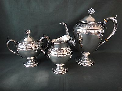 International Sterling Silver Queens Lace Tea Set - Creamer, Sugar & Coffee Pot