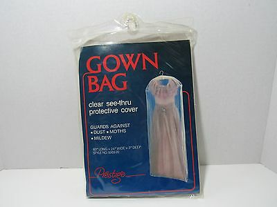 "Prestige Clear See-Thru Gown Bag 24""x3""x60"" long  - NEW Sealed"