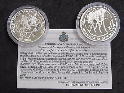 2004 San Marino 5&10 Euro 2-Coin Soccer Set Sterling Silver Proof W/ Box & COA