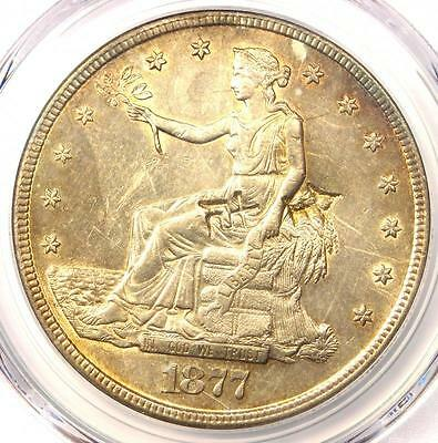 1877-S Trade Silver Dollar T$1 - PCGS Uncirculated Details Chop Mark (UNC MS)!
