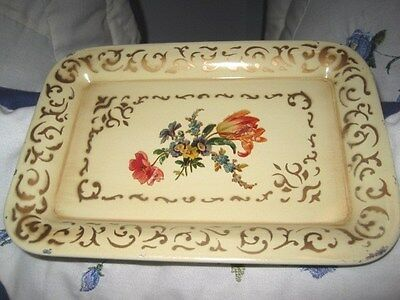 Shabby French Country Vanilla Cream Floral Vintage Tole Toleware Dresser Tray